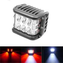 Yolu 1 Piece 4 Inch Dual Side Shooter Led Cube 36w Led Work Light Off Road Led Light Driving Light Super Bright Waterproof Fits for SUV Truck Car ATV, (White/Red)