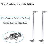 cciyu 2PCS Adjustable Sliver Front Lip Rod Bumper Lip Splitter Tie Rod Bars 3.94-9 Inch