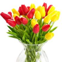 JOEJISN 30pcs Artificial Tulips Flowers Real Touch Multicolored Tulips Fake Holland PU Tulip Bouquet Latex Flowers for Wedding Party Office Home Kitchen Decoration (15pcs Yellow and 15pcs red)