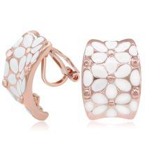 Kemstone Rose Gold White Enamel Flower Clip On Earrings for Women