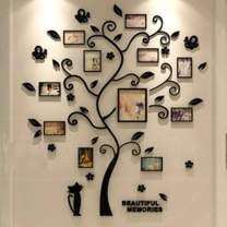 """LUHSICE Large 3D Acrylic Wall Stickers Photo Frames Family Tree Wall Deca (Black Leaves with Cat 56.7""""x69"""")"""