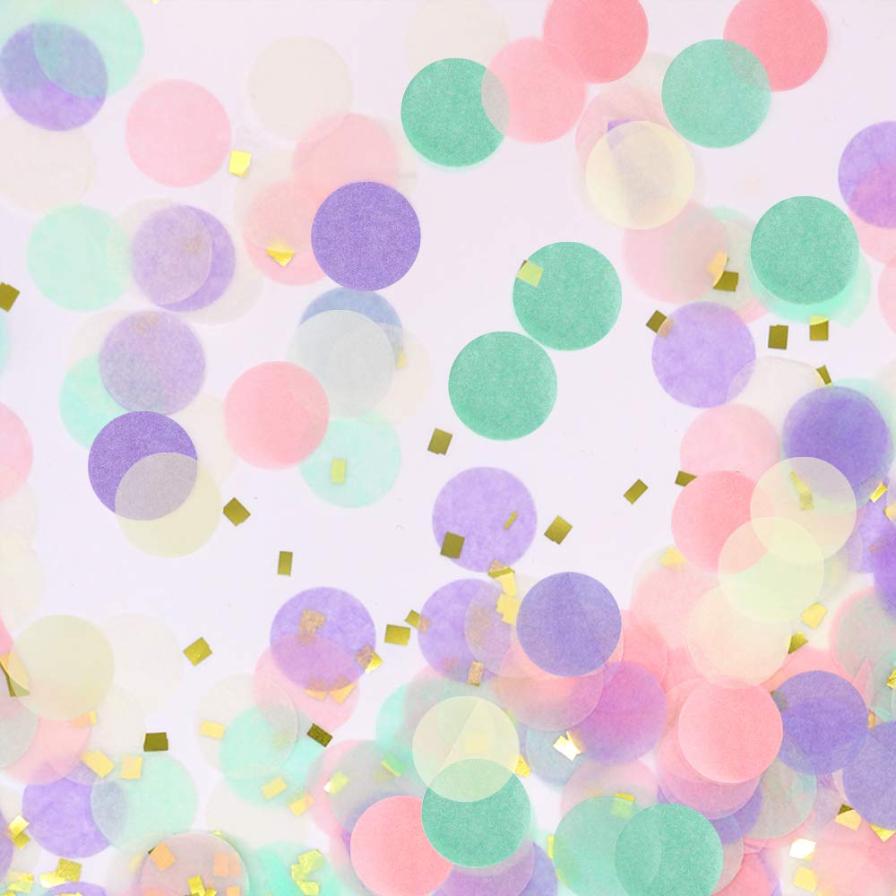 Circle Tissue Paper Confetti Table Dots Glitter Confetti for Party Wedding Birthday Anniversary Baby Shower, 1.76 oz, 1 inch (Purple+Pink+Teal+Gold foil)