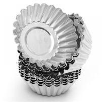 Non-Stick Egg Tart Molds - Reusable Baking Tinplate Round Muffin Cups for Baking(Set of 20)