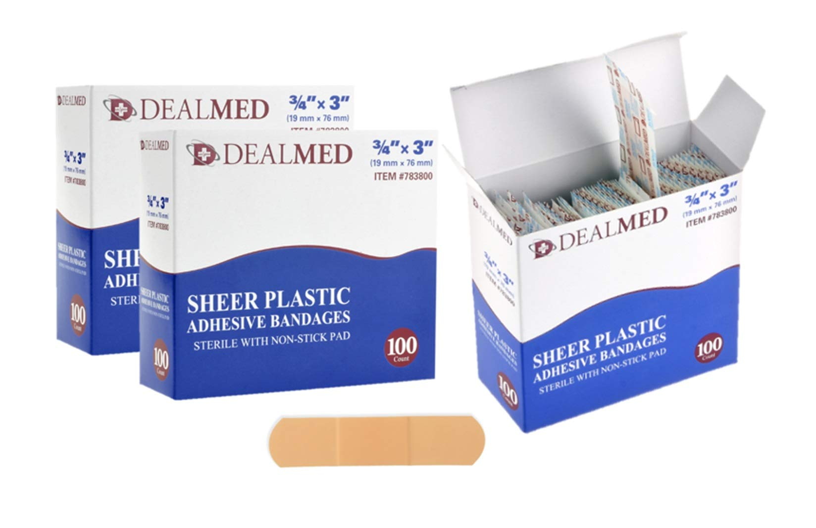 """Dealmed Brand Flexible Sheer Plastic Adhesive Bandages, Sterile Non-Stick Pad for Minor Wound Care, 1"""" x 3"""", 300 Count"""