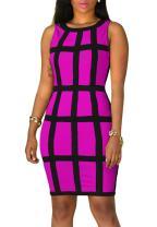 YMING Women's Plus Size Bodycon Club Sleeveless Dress Vintage Checked Evening Dress S-4X