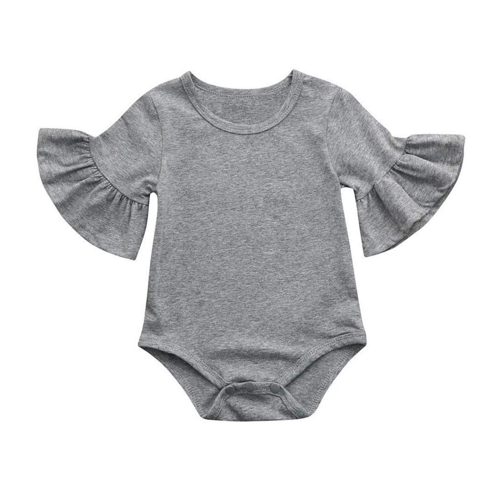 EISHOW 0-24 Months Newborn Infant Toddler Baby Girls Romper Clothes Ruffles Bell Sleeve Jumpsuit Playsuit Sleepwear Outfits