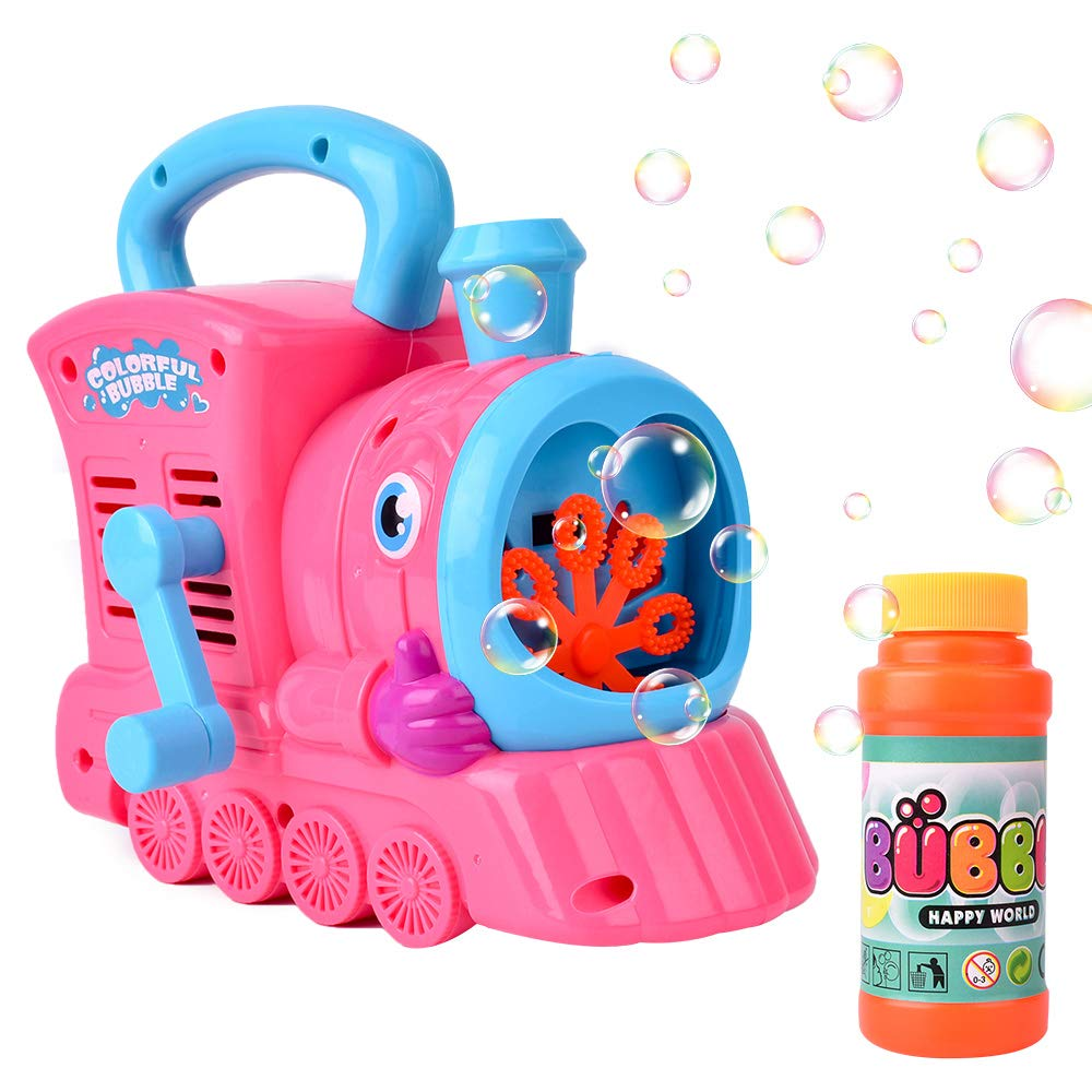 AINOLWAY Train Bubble Machine Hand Controlled Bubble Blower Maker Indoor and Outdoor Bubble Toys for Kids No Batteries Required (Red)