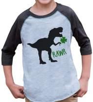 Custom Party Shop Kids Dinosaur St. Patricks Day Grey Raglan