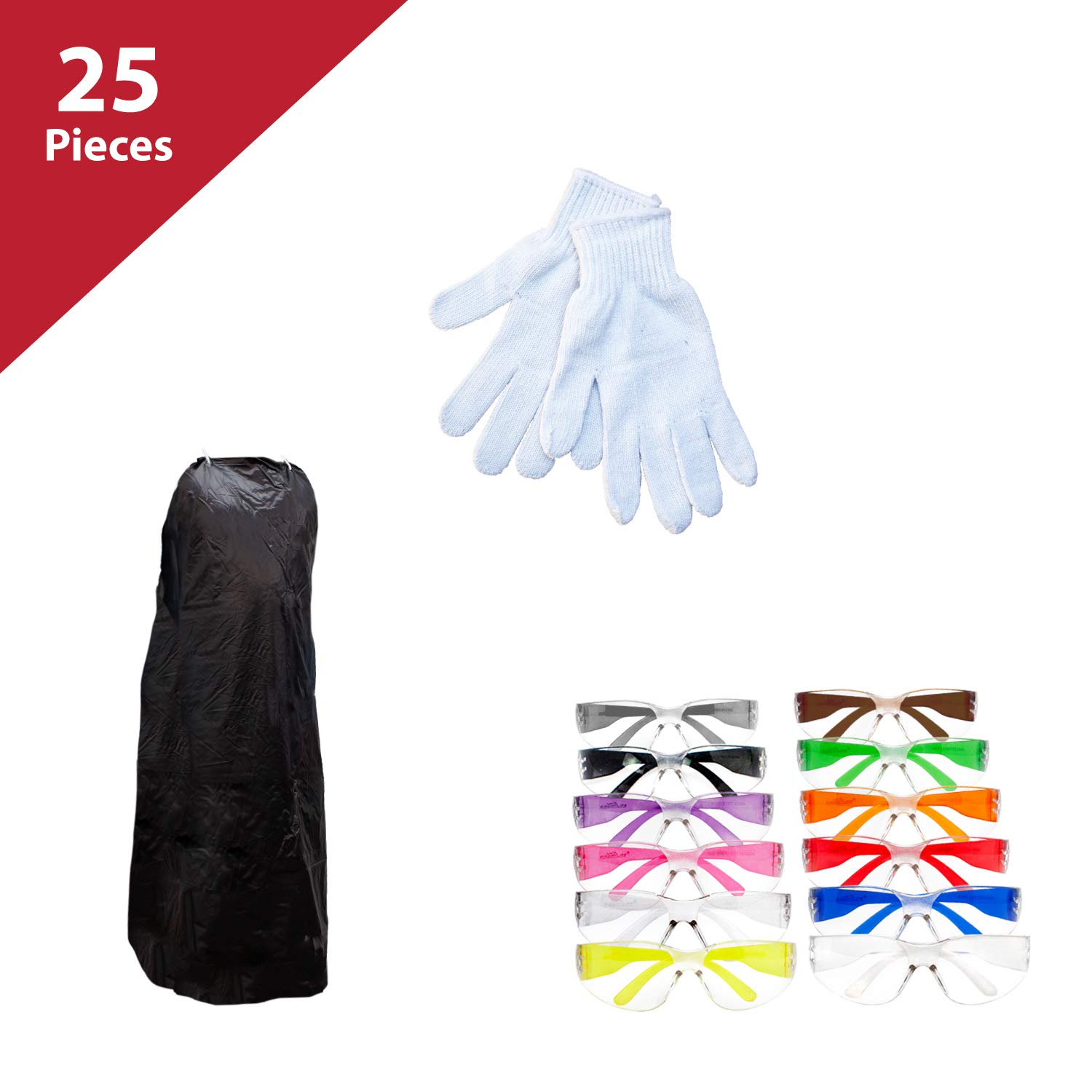 SAFE HANDLER 25 Pieces Work Station Safety Kit | Knit Butcher Gloves 12 Pieces, PVC Apron, 1 pc Black, Clear Color Assorted Safety Glasses, 12 PAIRS of safety glasses