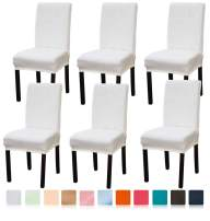 Argstar 6 Pack Premium Velvet Chair Protectors for Dining Room, Machine Washable Kitchen Chair Cover 6 Pack, Cream White