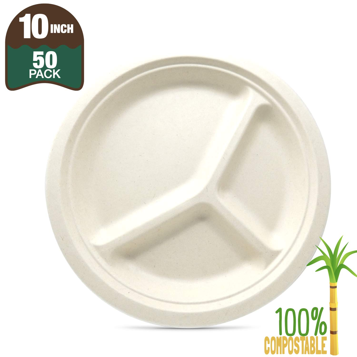 """Biomundi 100% Compostable 10"""" 3-compartment Paper Plates [50-pack] Heavy-duty Quality Natural Disposable Bagasse, Eco-friendly Made Of Sugar Cane Fibers, 10 Inch, Brown Biodegradable"""