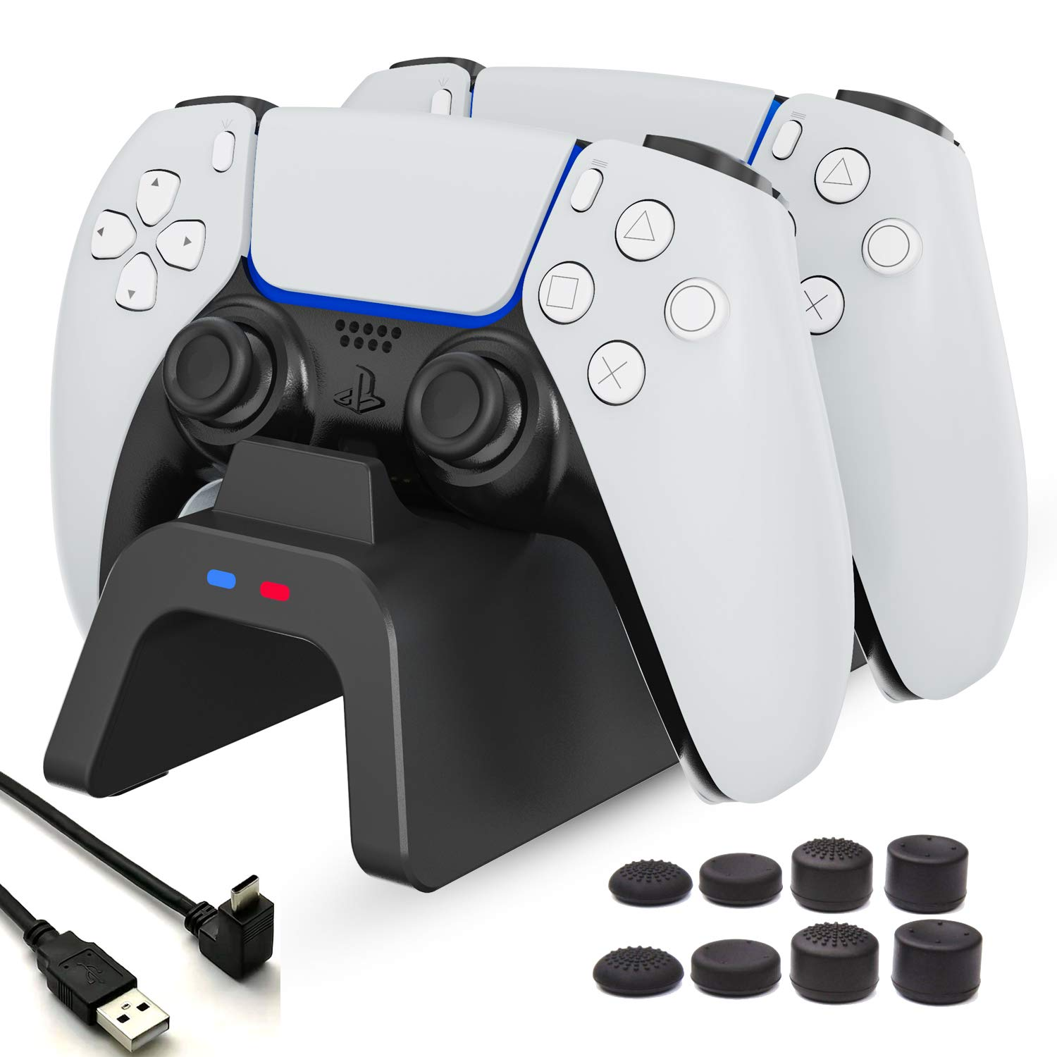 KAUPOONK PS5 Controller Charger Station, Upgraded ps5 Charging Station, Playstation 5 dualsense Charging Station with LED Indicator and Accessories Trigger Kit