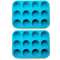 Kitch N' Wares Large Silicone Muffin and Cupcake Pan - Pack of 2 Non-Stick, BPA-free Food Grade Mold and Baking Tray - Heat Resistant up to 450 Degrees - Blue
