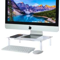 CHUICHUIHU Acrylic Monitor Stand Riser, Clear Monitor Riser, Monitor Riser Stand for Desk/Desktop, Upgrade Computer Riser, Ergonomic Monitor Risers for Home Office (15 x 9.3 x 3.3 in)