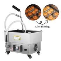 JIAWANSHUN 30L/8Gallons Fryer Oil Filter Oil Filtration System for Fryer Oil Filtering Machine 300W 120-180℃ for Fast Food Shop(110V)