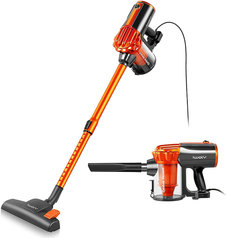 iwoly V600 Vacuum Cleaner Corded Bagless Stick and Handheld Vacuum for Hard Floor (Orange)