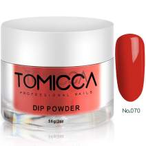 TOMICCA Nail Dipping Powder, Red Color 2oz 56g / jar for Nail Manicure Nail Art, Fast Dry Acrylic Powder Without UV/LED Lamp Cured #070