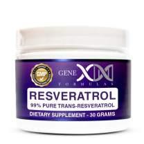Genex Resveratrol Powder 1000mg Serving 99% Pure Micronized Pharmaceutical Grade Trans-Resveratrol Powder 1000mg 30Grams 1Gram Per Day 30-Day Supply Made in a GMP & NSF Certified Facility