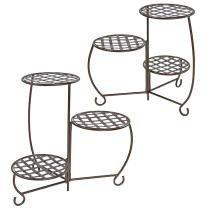 Sunnydaze Plant/Flower Stand, Indoor or Outdoor, Checkered Triple Potted, Set of 2, Bronze