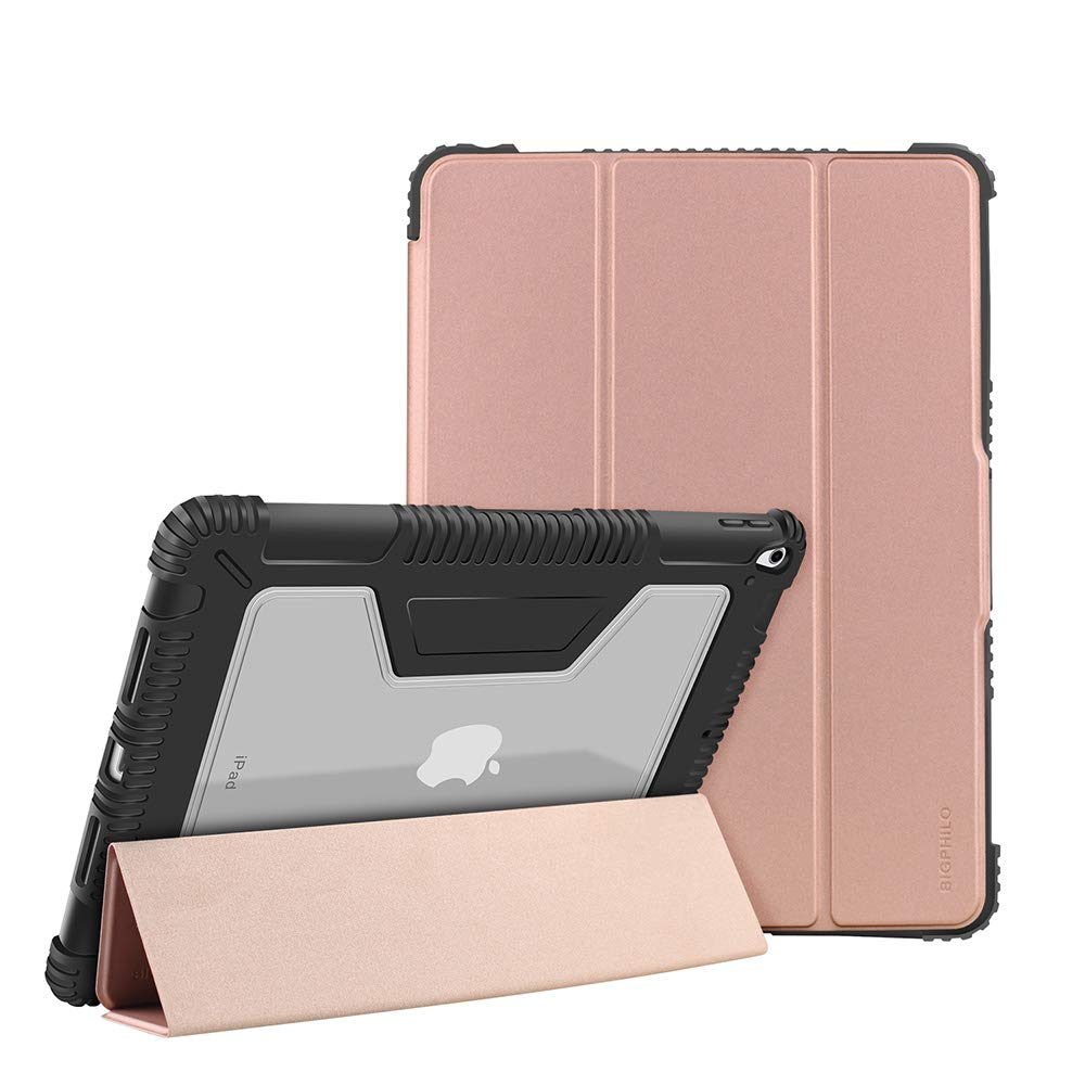 BIGPHILO [SPA Series] Heavy Duty Protective Case for 10.5 inch iPad Air 3 (2019), Rugged Clear Back Case + Trifold Stand Front Cover, [Built-in Pencil Holder] Smart Folio for iPad Air 3rd Gen, Gold
