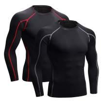 Niksa 2Pcs Men's Compression Shirts Cool Dry Athletic Workout Running T Shirts