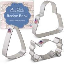 Ann Clark Cookie Cutters 3-Piece Trick or Treat Candy Cookie Cutter Set with Recipe Booklet, Candy, Candy Corn and Bag