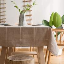 LINENLUX Striped Cotton Linen Tablecloth/Table Cover with Tassel Coffee Grid Rectangle/Oblong 55 X 70 in