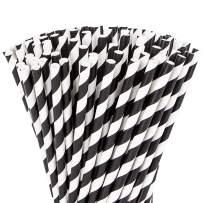 Webake Paper Straws Biodegradable Bulk 144 Halloween Black and White Striped Drinking Straws, Great Alternative Disposable Straws to Plastic Straws Eco Friendly Straw for Party, Cake Pop Sticks
