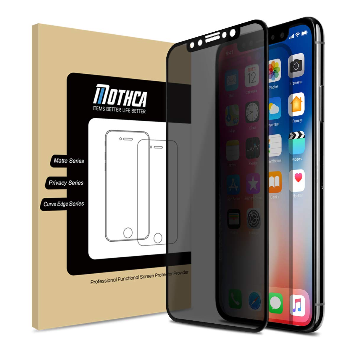 Mothca Screen Protector Privacy for iPhone 11/XR Tempered Glass Full Cover Case Friendly Anti-Spy Film 9H Hardness Glass Screen Guard Anti-Scratch Easy Install Bubble Free
