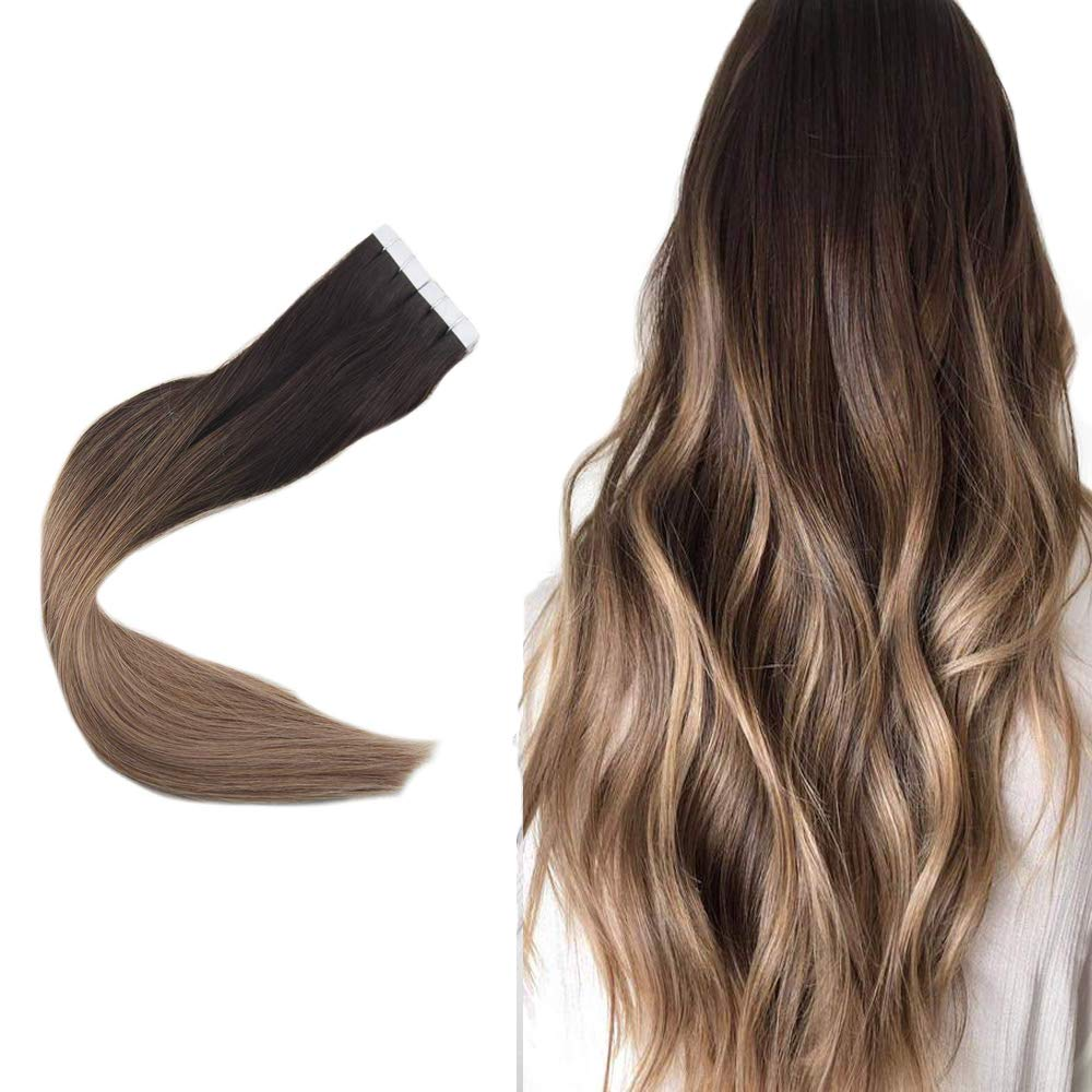 Easyouth 18inch Pu Tape in Hair Extensions Color 2 Dark Brown Fading to 6 And 18 Highlighted 80g 40pcs per Pack Adhesive Glue in Hair Extensions Seamless Skin Weft Extensions
