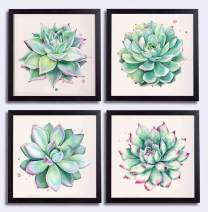 """YOOOAHU Home Wall Art Decor Succulent Plants Simple Life Canvas Paintings Posters Prints 12"""" x 12"""" 4 Pieces Watercolor Hand-Drawn Green Leaf Framed Nature Pictures for Living Room - Black Photo Frame"""