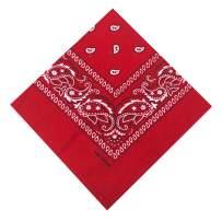 100% Cotton 3 Pcs Double Sided Print Paisley Cowboy Head Wrap, Scarf Multi-Purpose Bandana for Men & Women 22 x 22 inches