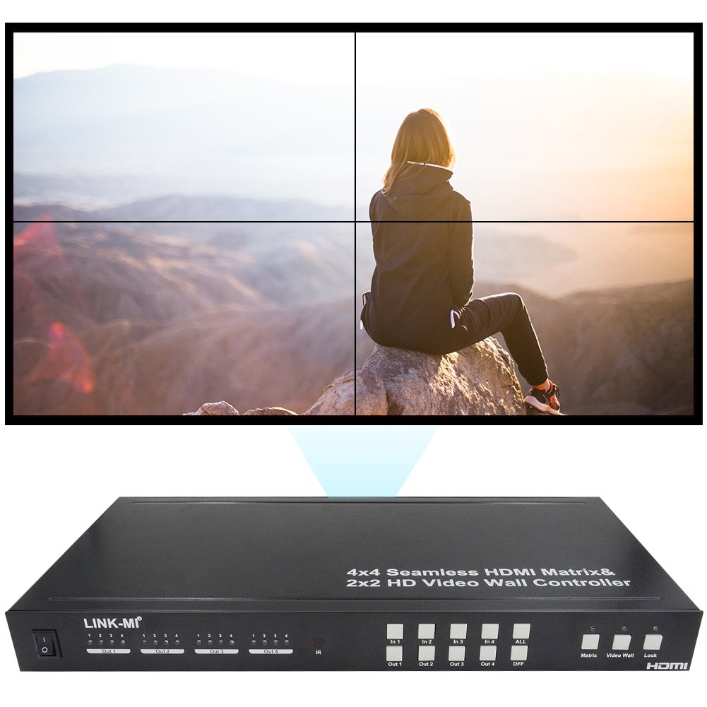LINK-MI TVM44 Seamless 4x4 HDMI Matrix Selector Switcher with Four Picture Multiviewer 2x2 Video Wall Controller