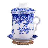 Hwagui - Chinese Blue And White Ceramic Tea Cup Set With Lid, Infuser, Saucer And Delicate Gift Box, Perfect Teacup For Loose Tea And Teabags