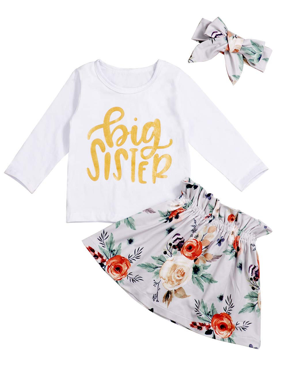 Toddler Baby Girls Little Sister Romper Big Sister T-Shirt Tops Matching Outfits Set Floral Tutu Skirt and Pants