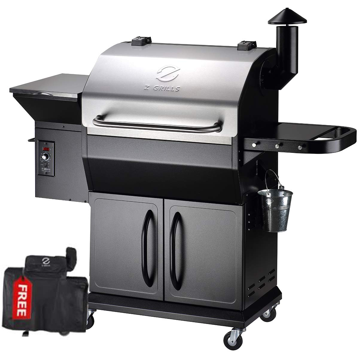 Z GRILLS 2020 Upgrated Wood Pellet Grill and Smoker 1000sqin bbq area 20LB Hopper 8-in-1 Grill Smart Digital control feeding Pellets (ZPG-1000E) + Free Cover
