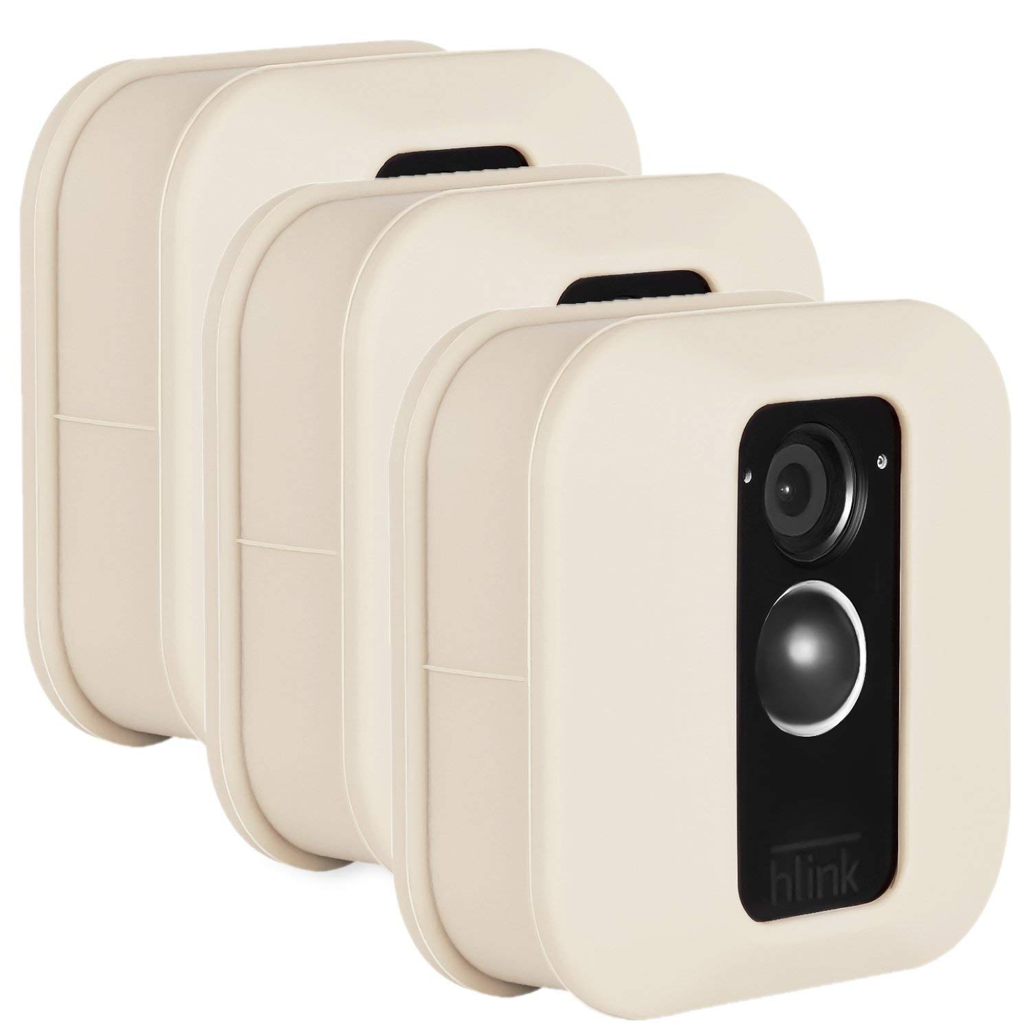 Blink XT Outdoor Camera Silicone Skin - Colorful Silicone Skin to Help Camouflage and Accessorize Your Home Security Camera - by Wasserstein (3 Pack, Beige)