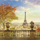 Baocicco 10x10ft Paris Backdrop Panorama of Paris Eiffel Tower Vinyl Photography Background Planform of Paris City Romantic Autumn France View Retro Baluster Maple Tree Tourism Wedding Portrait Prop