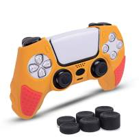Junfire PS5 Controller Grip Cover, Anti Slip Sweat-Absorbent Soft Controller Skin for Playstation 5 DualSense Remote with 6 Thumb Joystick Grips, PS5 Controller Accessories Set-RedOrange