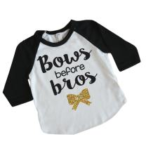 Bows Before Bros Fashion Baby Clothes Novelty Shirt (6T Black Sleeve)