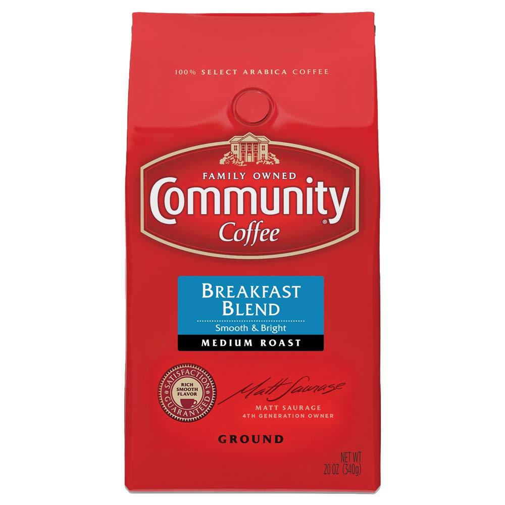 Community Coffee Premium Ground Arabica Coffee Beans, Breakfast Blend Medium Roast, 20 Ounce