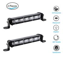"7"" Off Road Light Bar Ultra-Slim Single Row 18W Cree LED Fog/Driving/Work Flood Light for Trucks ATV SUV Cars Bumper Rock + Mounting Brackets (2pcs/set,7 inch 18W)"