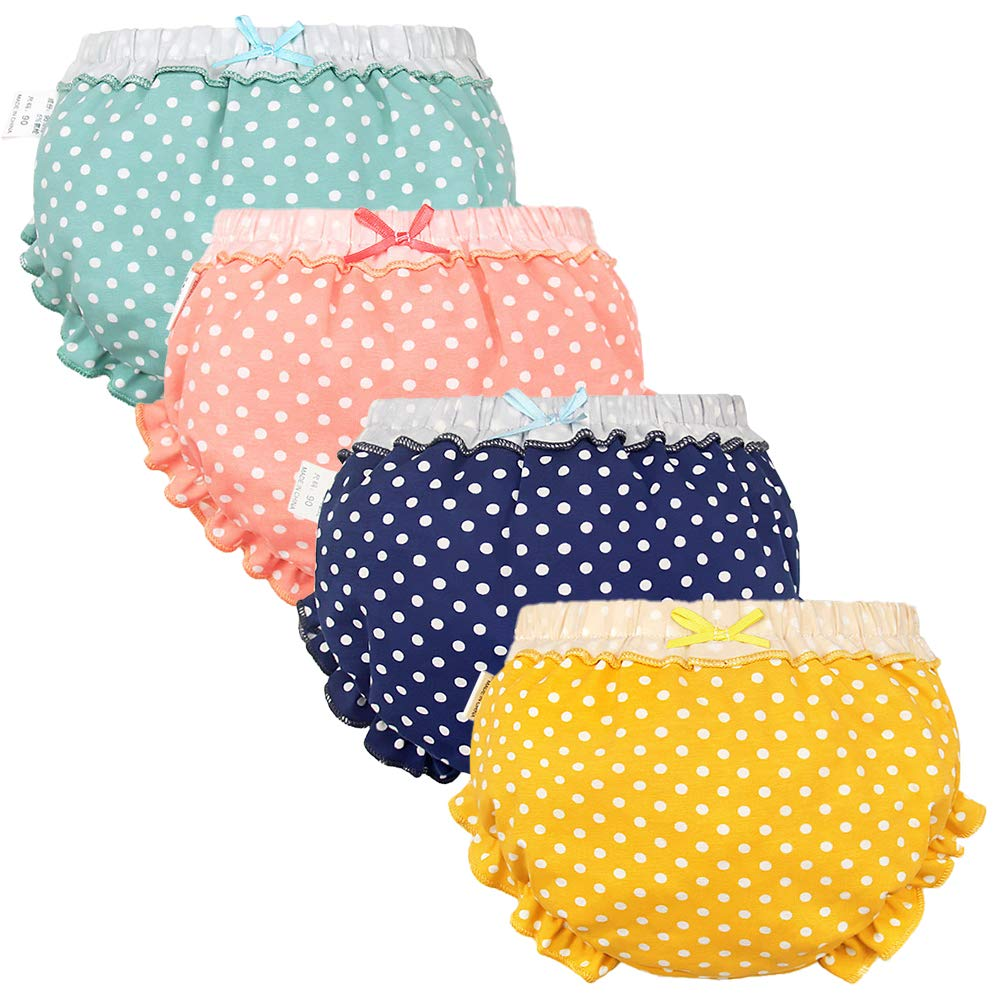 Baby Girls Bloomers Newborn Infant Toddler Diaper Covers Kids Girls Briefs Underwear Set 0-4T 4-Pack