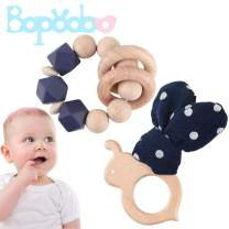 Organic Wood Montessori Styled Baby Rattle Bule 2pc Set,Wooden teether, Teething Toy,Wooden Rattle,Rattle for Baby
