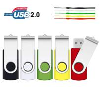 32GB USB Flash Drive, SRVR 5 Pack USB 2.0 Flash Drive Metal Swivel USB Memory Stick with LED Indicator, Fold Storage Thumb Drives Jump Drive with Lanyards (5 Mixed Color)