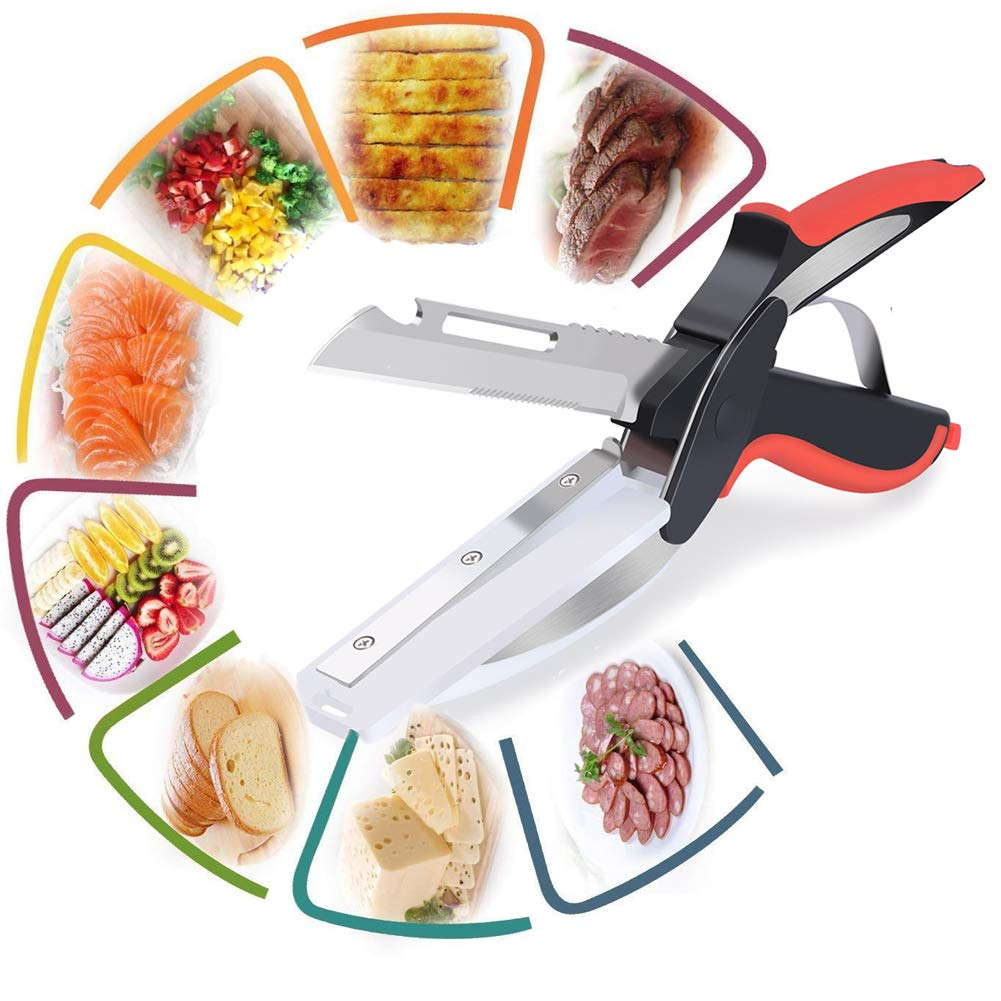 Clever Cutter Kitchen Scissors, Smart Cutter 6 in 1 Knife&Cutter Board, Vegetable Chopper, Food Shears, Food Chopper with, 304 Food Grade Stainless Steel for Kitchen Restaurant Cooking Camping