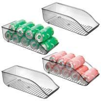 "mDesign Large Plastic Pop/Soda Can Dispenser Storage Organizer Bin for Kitchen Pantry, Countertops, Cabinets, Refrigerator - BPA Free, Food Safe - 13.5"" Long, 4 Pack - Smoke Gray"