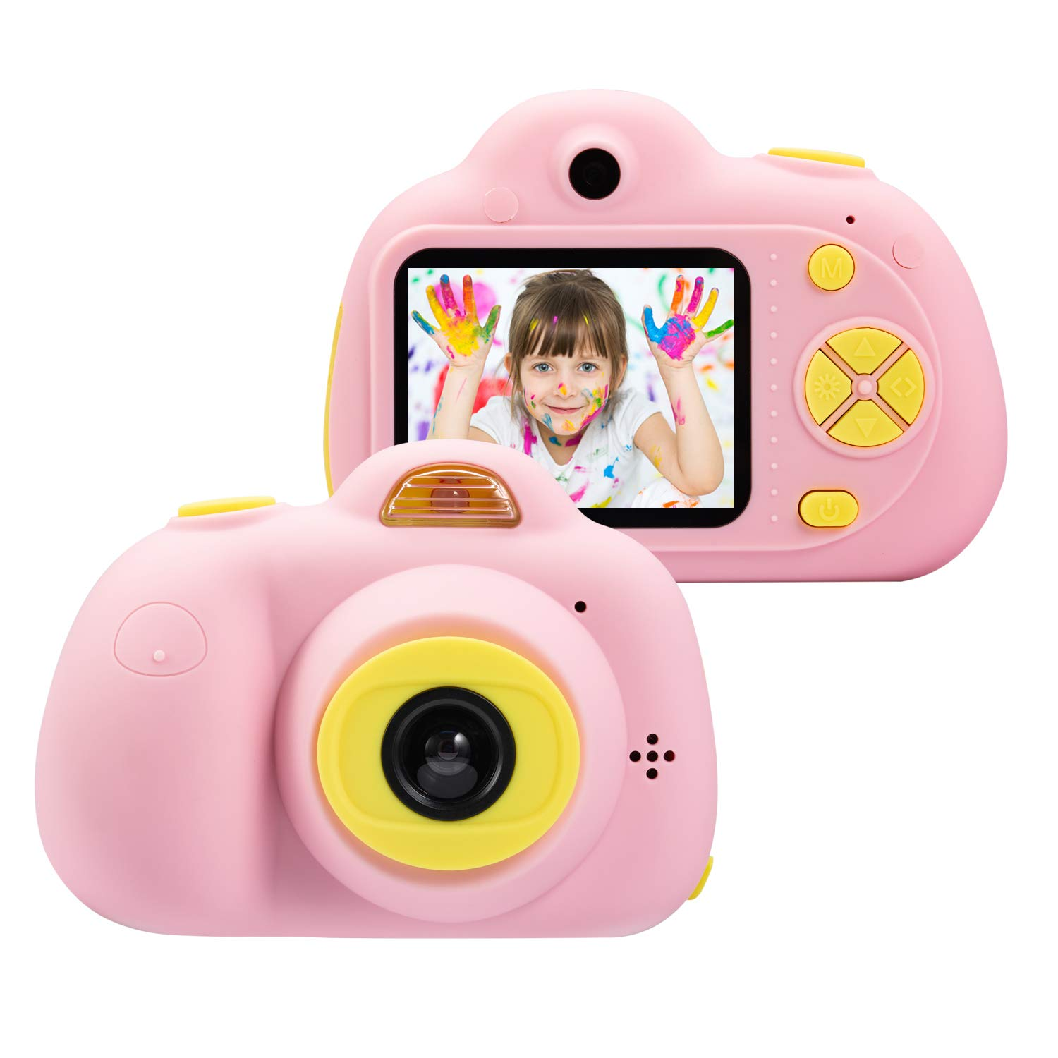 omzer Kids Camera for 4-8 Year Old Girls, Shockproof Cameras Great Mini Child Camcorder for Little Girl with Soft Silicone Shell for Outdoor Play,Pink(16G SD Card Included)