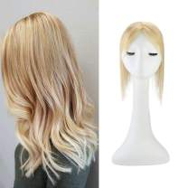 """Full Shine Real Human Hair Toppers For White Women 10 Inch Piano Color 27 Strawberry Blonde To 613 White Blonde With Soft 6.5X2.25"""" Cover Sizer One Piece Hair"""