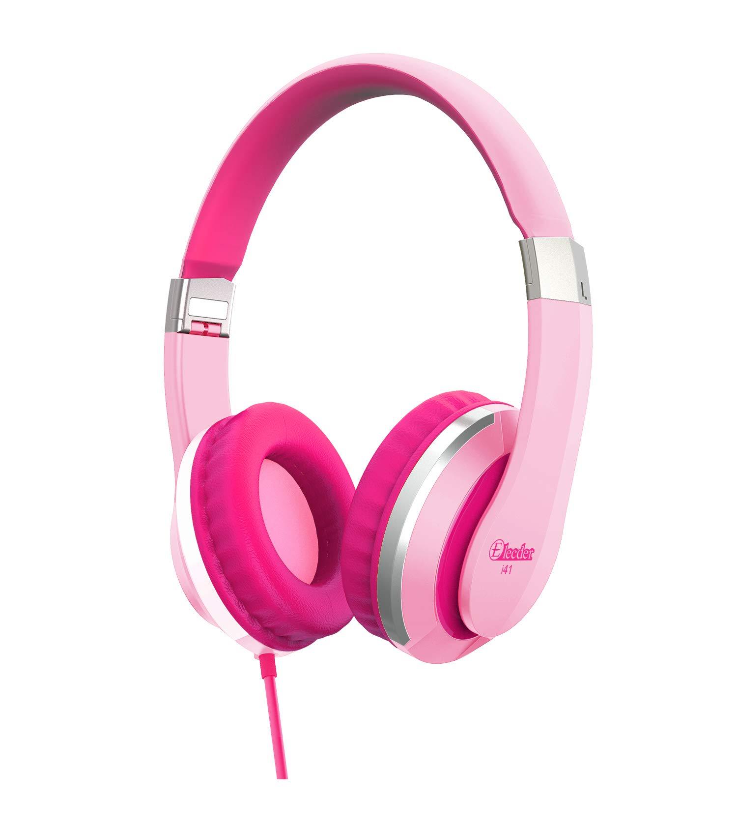 Elecder i41 Kids Headphones, Headphones for Kids Children Girls Boys Teens Foldable Adjustable On Ear Headphones with 3.5mm Jack for iPad Cellphones Computer MP3/4 Kindle Airplane School Pink/Purple